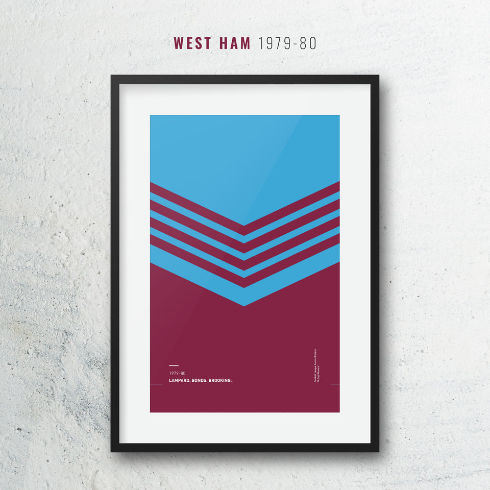 West Ham 1979-80 Iconic Football Kit Pattern Print