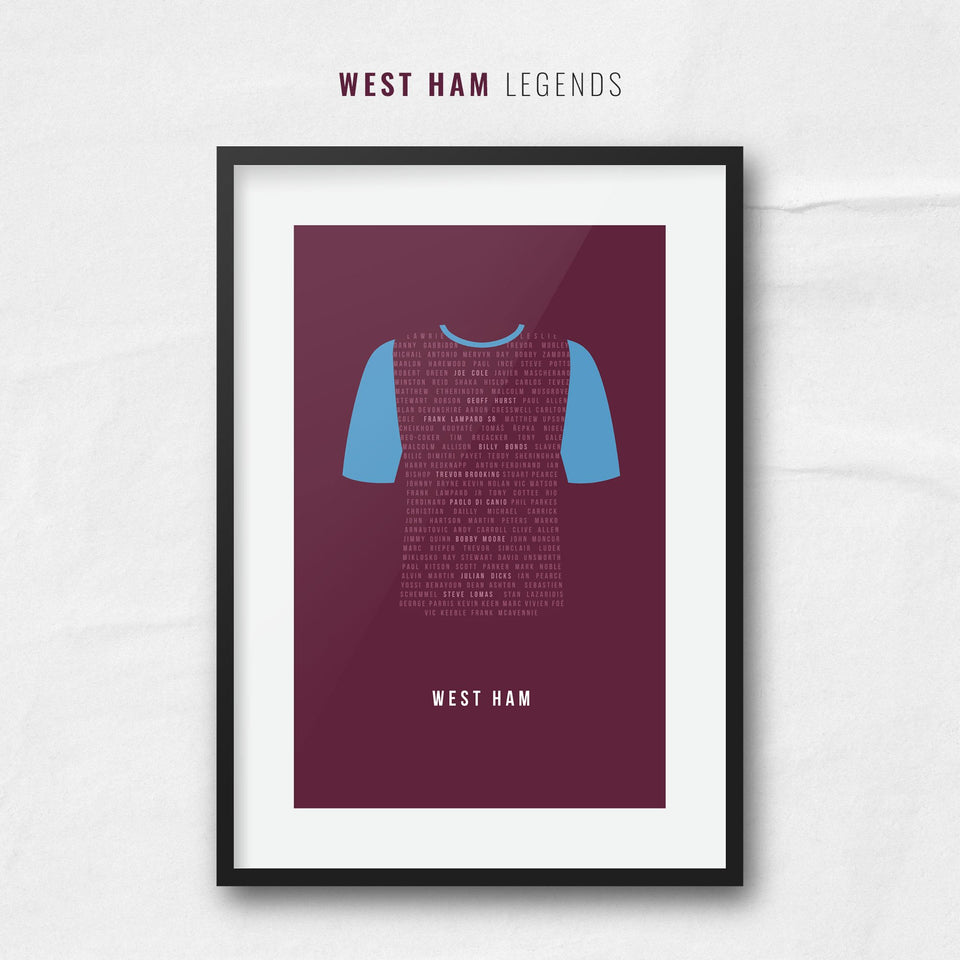 West Ham Club Legends Football Team Print - Good Team On Paper
