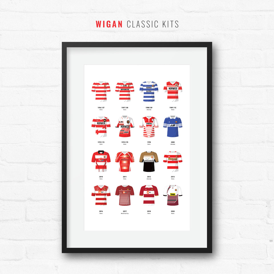 Wigan Classic Kits Rugby League Team Print