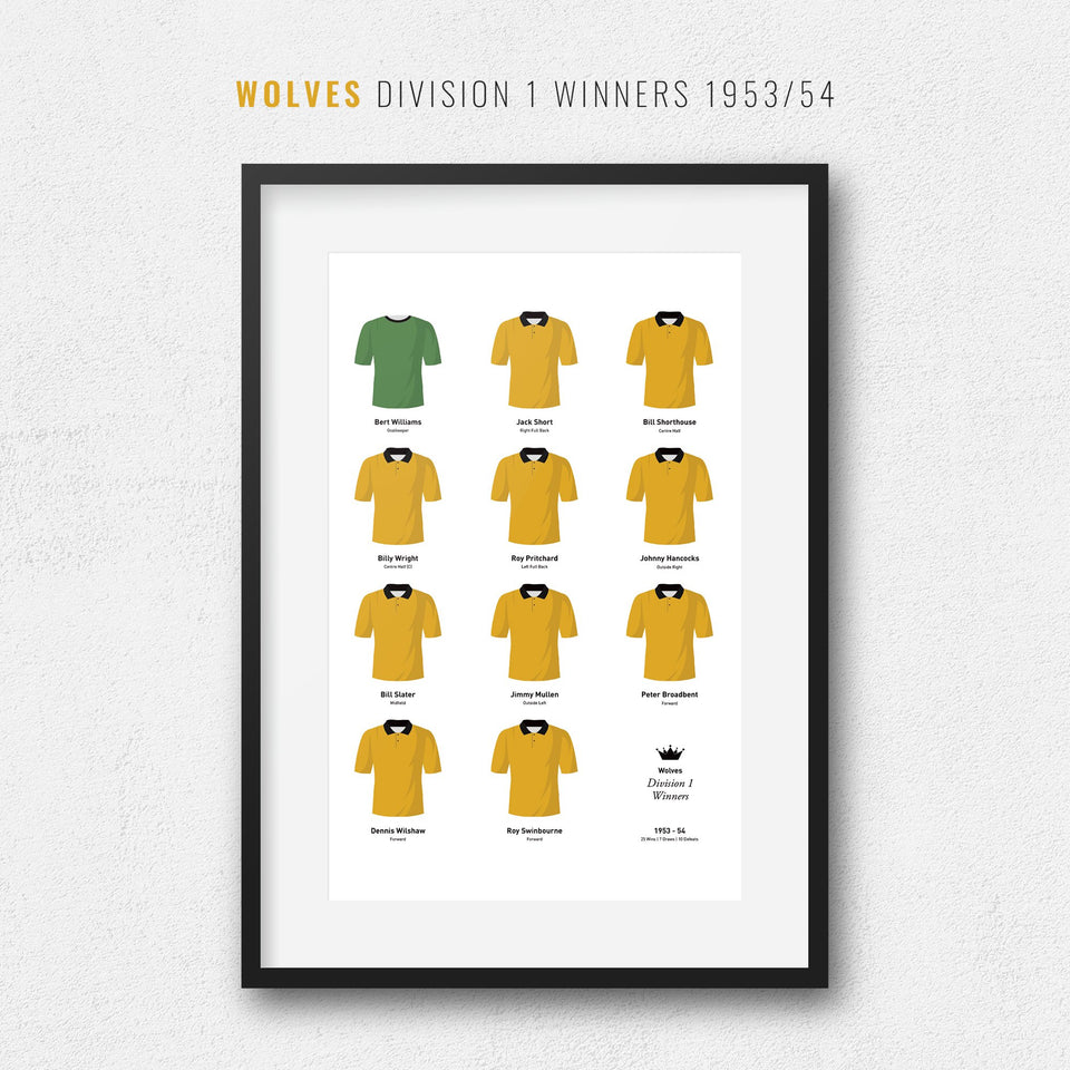 Wolves 1954 Division 1 Winners Football Team Print-Good Team On Paper