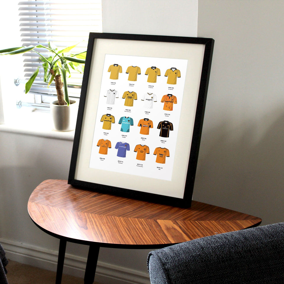 Wolves Classic Kits Football Team Print - Good Team On Paper