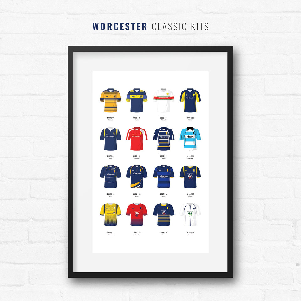 Worcester Classic Kits Rugby Union Team Print - Good Team On Paper