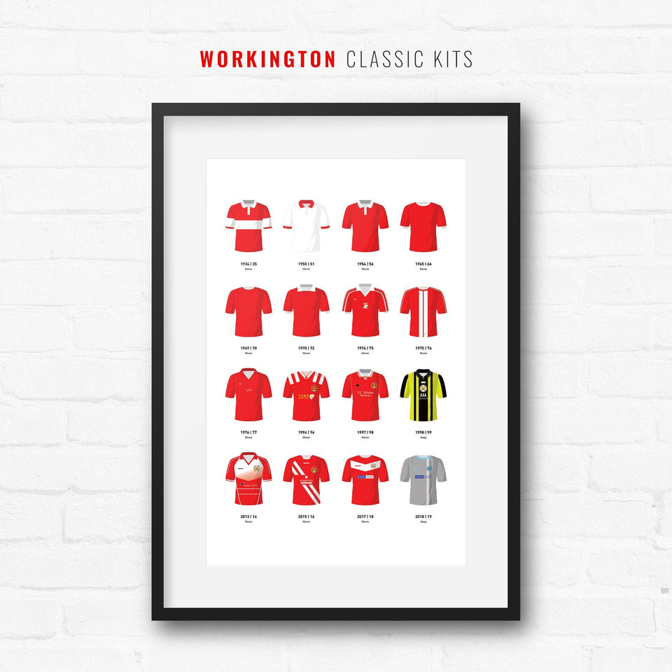 Workington Classic Kits Football Team Print