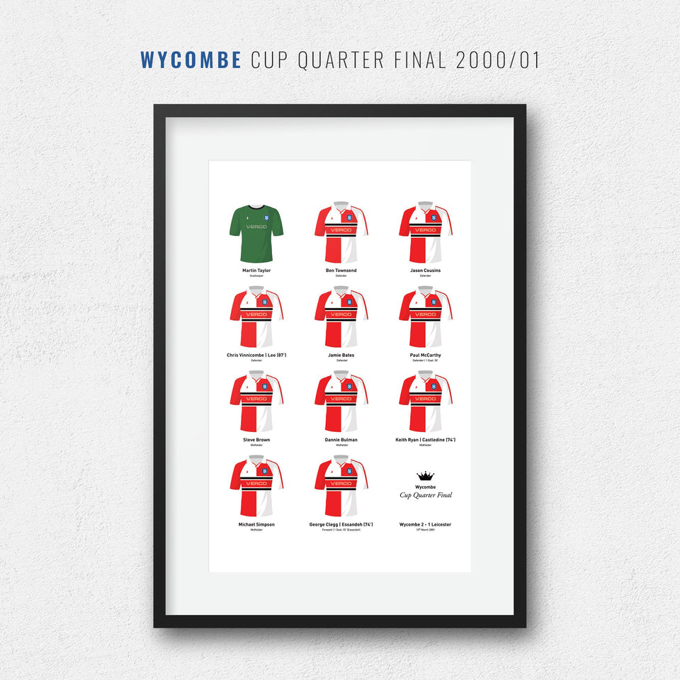 Wycombe 2001 Cup Quarter Final Football Team Print