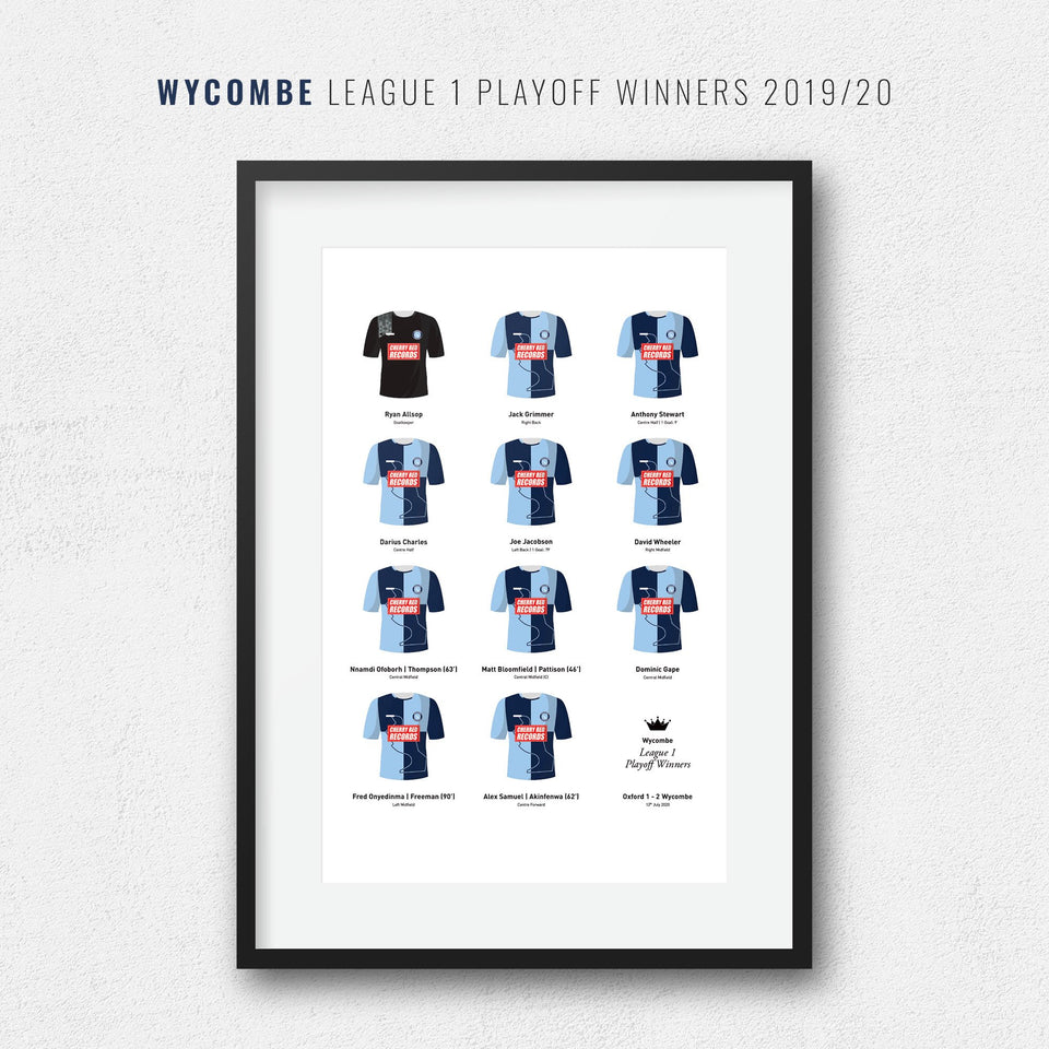 Wycombe 2020 League 1 Playoff Winners Football Team Print - Good Team On Paper