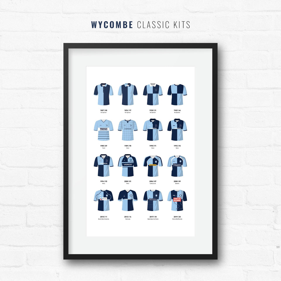 Wycombe Classic Kits Football Team Print - Good Team On Paper