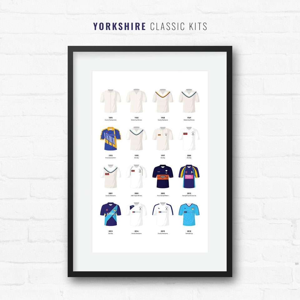 Yorkshire Cricket Classic Kits Cricket Team Print