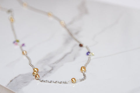 Danielle Emily - 904 - Long Chain Necklace with CZ's and Pearls