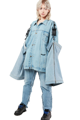 LIGHT BLUE DENIM INTERCHANGEABLE GAITER JACKET