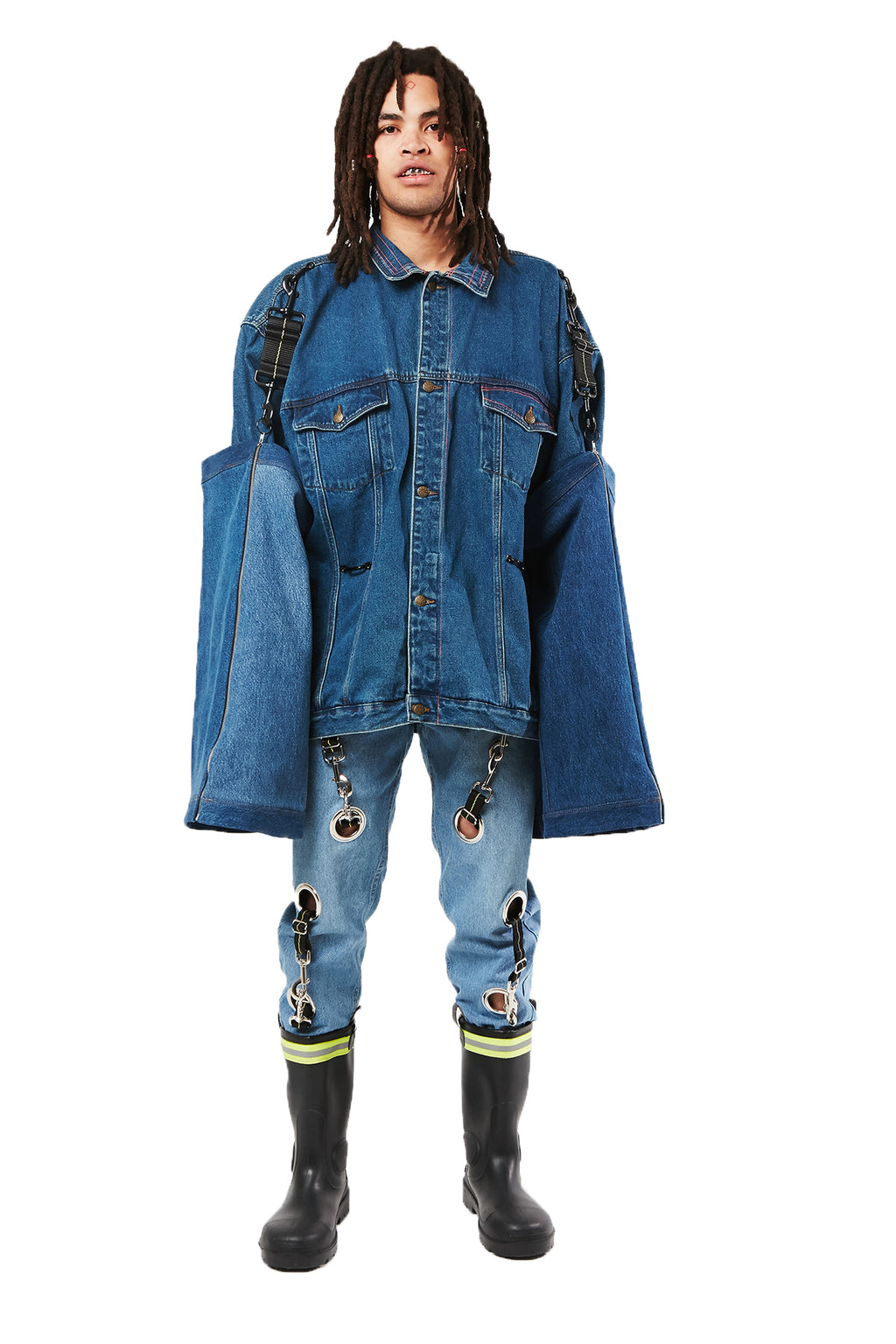 DARK BLUE DENIM INTERCHANGEABLE GAITER JACKET