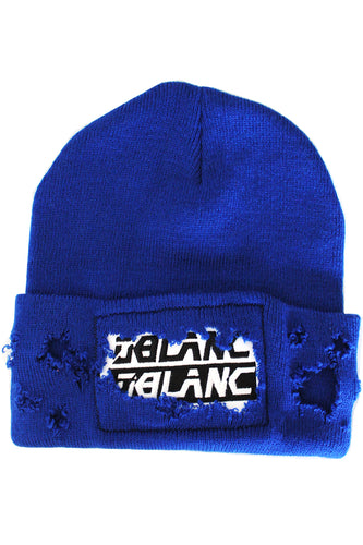 SHREDDED BEANIE BLUE
