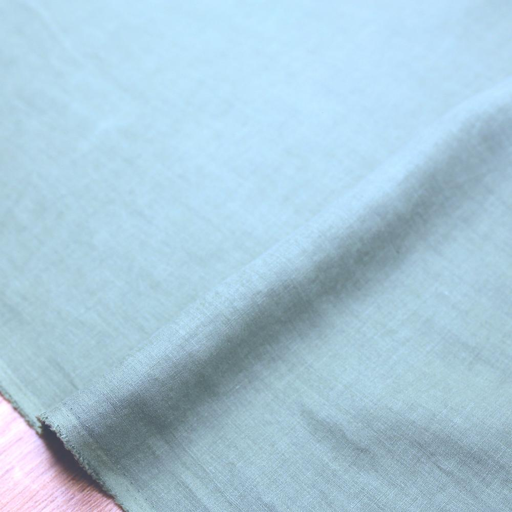 Oharayaseni Solid Colour Washer Finish Linen - Light Blue 120 - 50cm