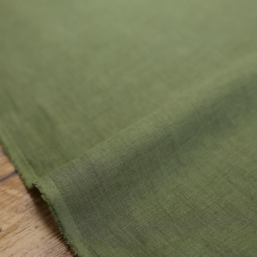 Oharayaseni Solid Colour Washer Finish Linen - Green 136 - 50cm