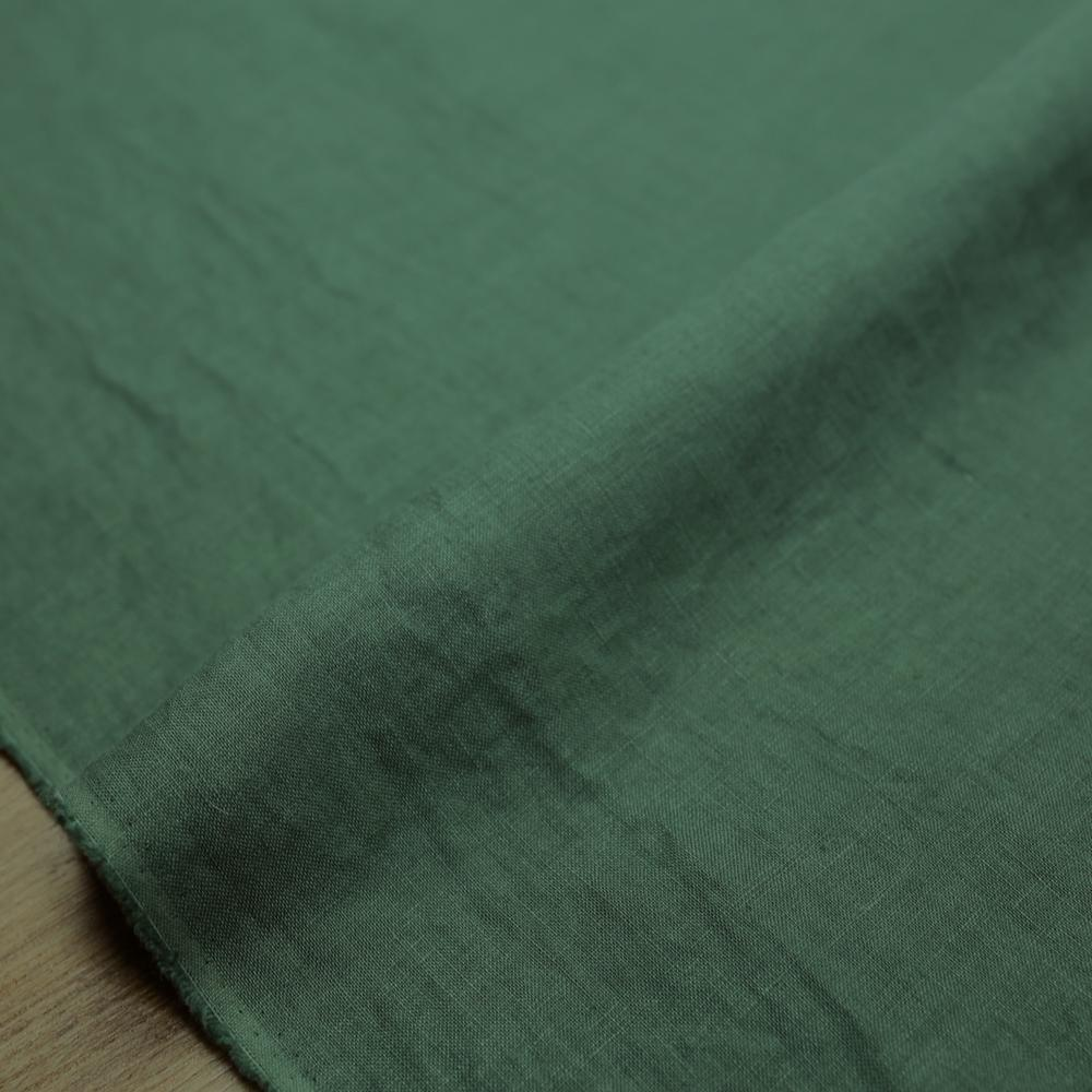 Oharayaseni Solid Colour Washer Finish Linen - Emerald 122 - 50cm