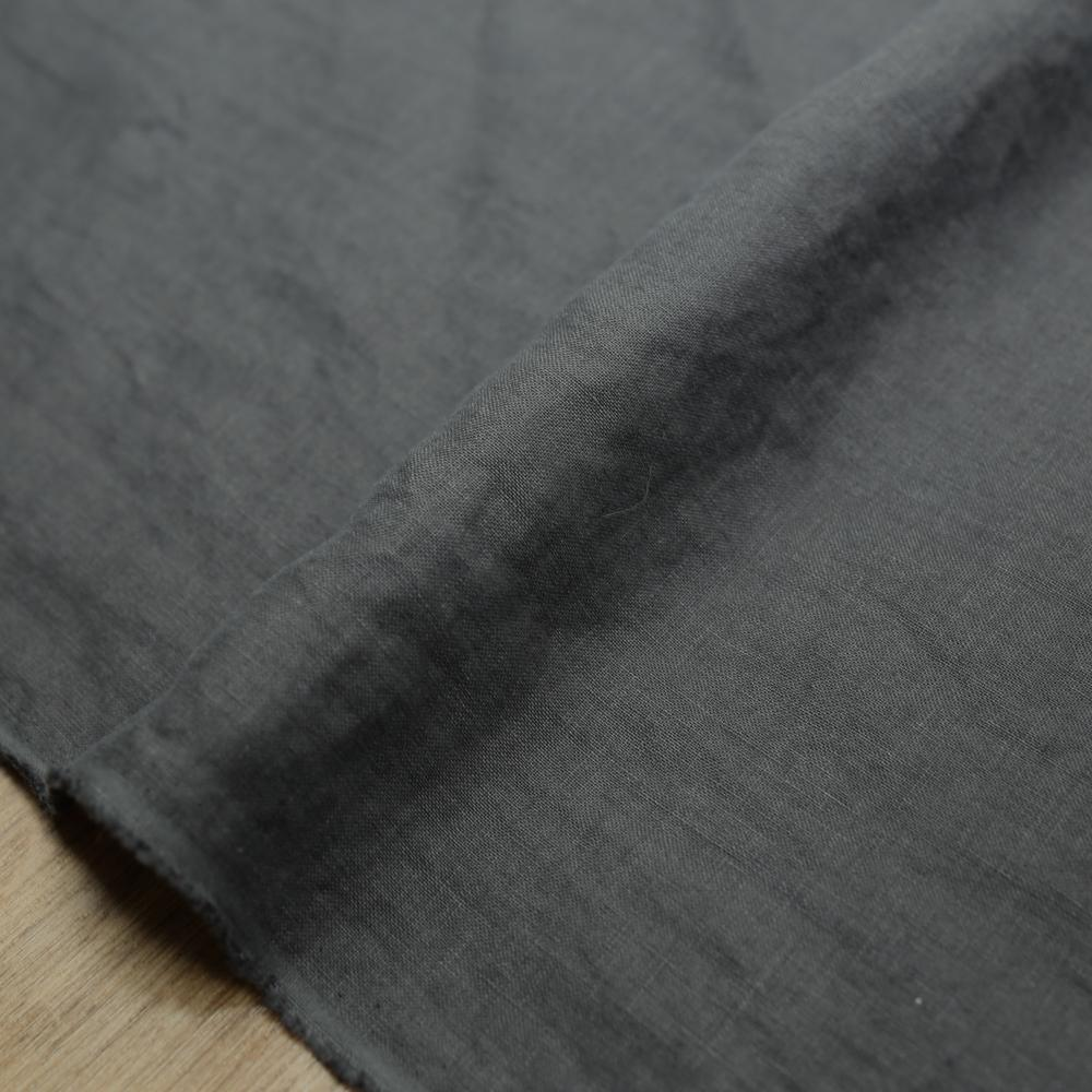 Oharayaseni Solid Colour Washer Finish Linen - Charcoal 126 - 50cm