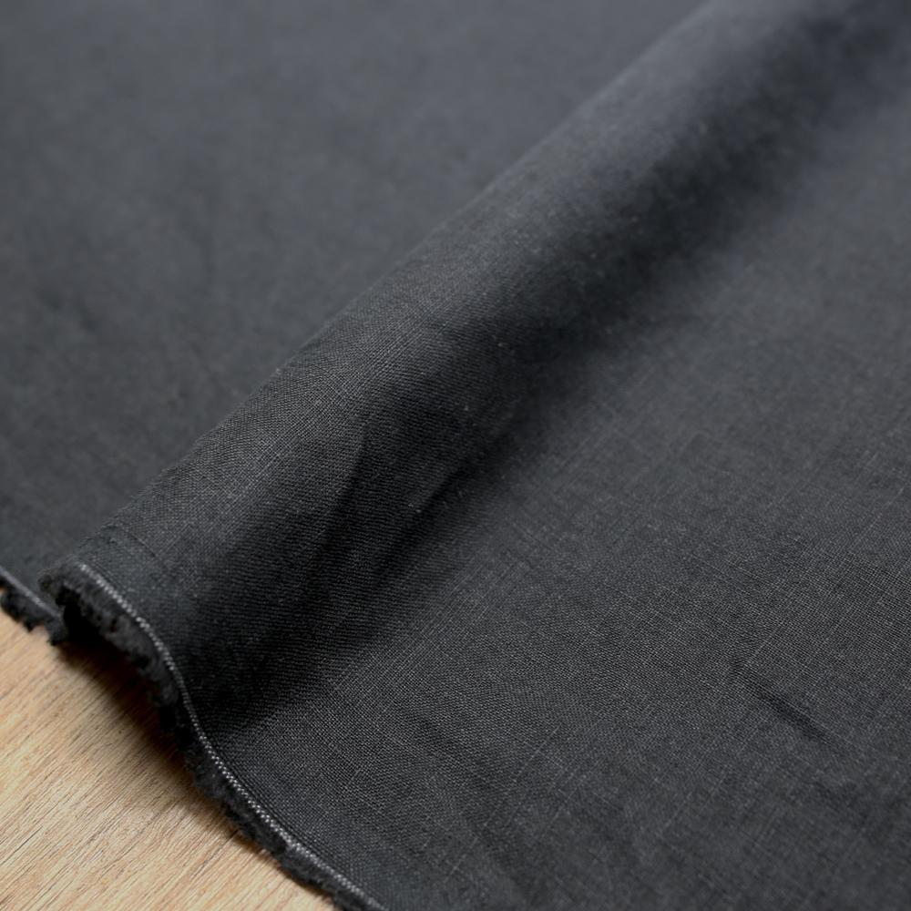 Oharayaseni Solid Colour Washer Finish Linen - Black BK - 50cm