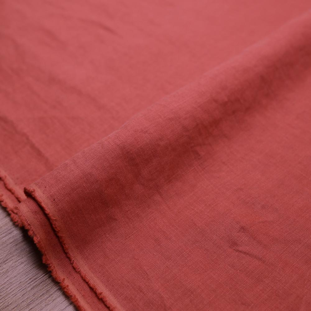 Oharayaseni Solid Colour Washer Finish Linen - Red R - 50cm