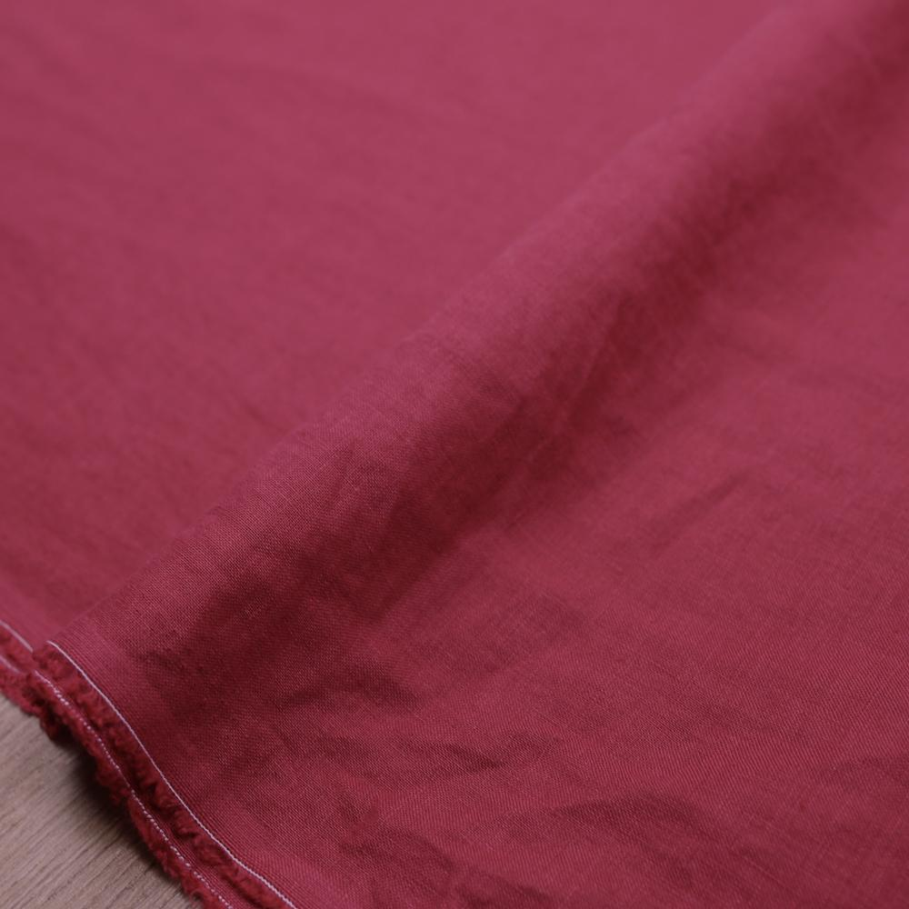 Oharayaseni Solid Colour Washer Finish Linen - Red 124 - 50cm