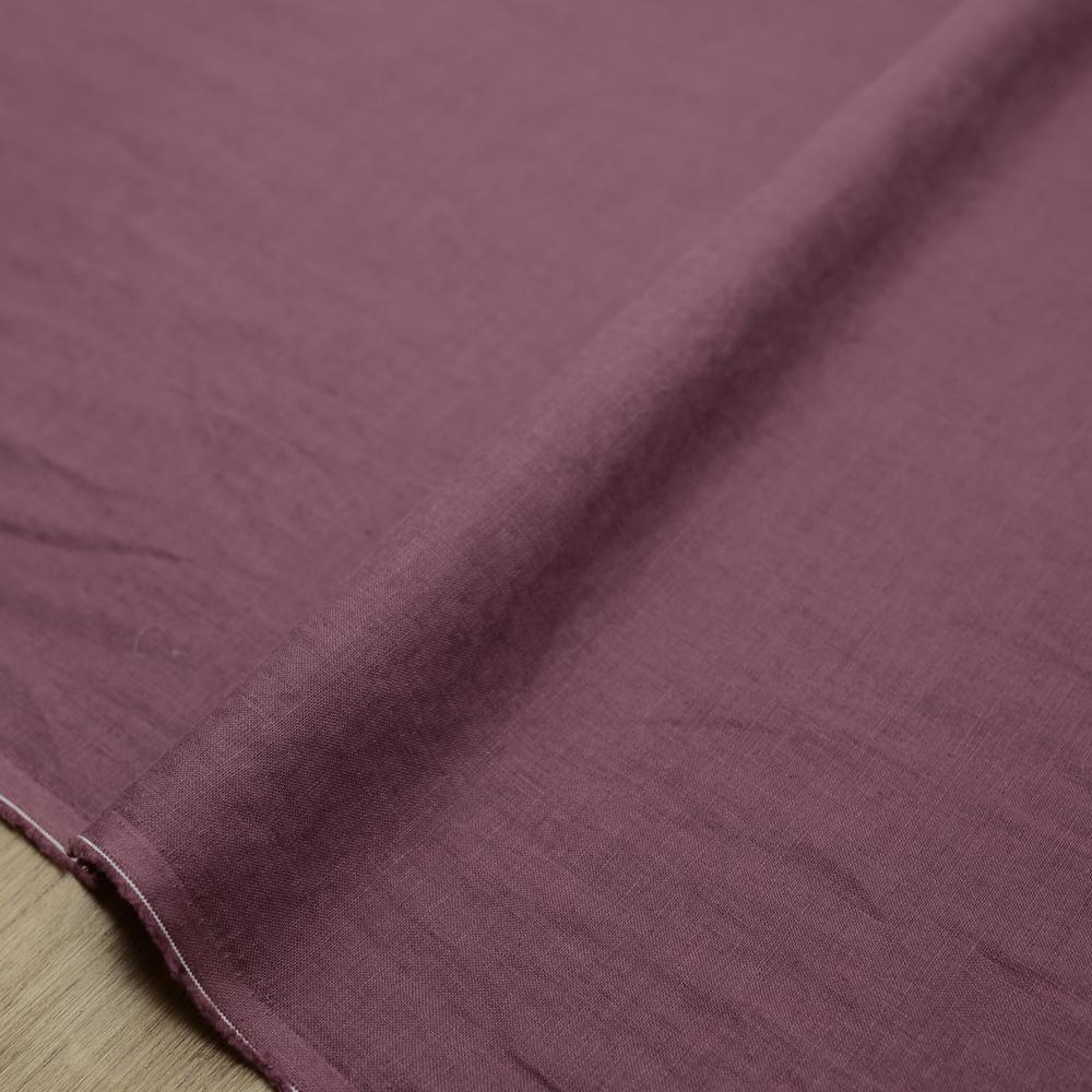 Oharayaseni Solid Colour Washer Finish Linen - Purple 135 - 50cm