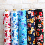 Kokka Floral 3 Large Flowers - Cotton Lawn - Black Orange E - Fat Quarter