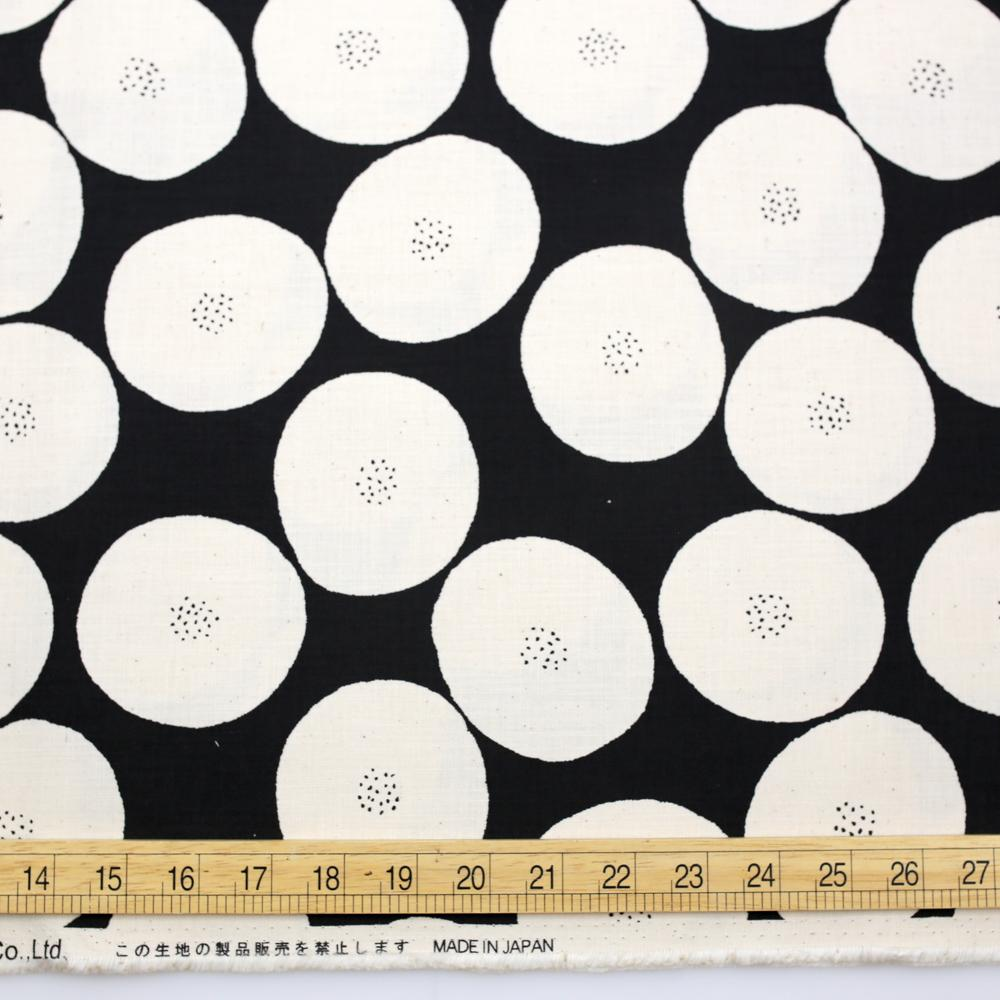 Kokka Muddy Works by Tomotake Anpan - Mortley Cross Soft Canvas - Black - 50cm - Nekoneko Fabric