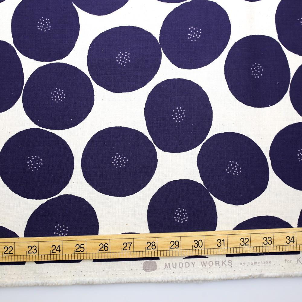 Kokka Muddy Works by Tomotake Anpan - Mortley Cross Soft Canvas - Blue - Fat Quarter - Nekoneko Fabric