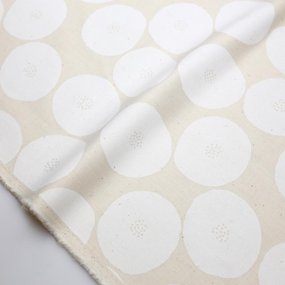 Kokka Muddy Works by Tomotake Anpan - Mortley Cross Soft Canvas - White - Fat Quarter - Nekoneko Fabric