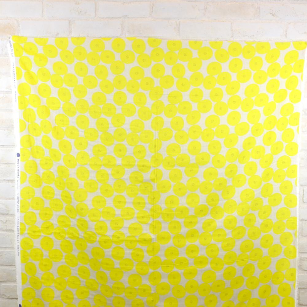 Kokka Muddy Works by Tomotake Mini Anpan - Double Gauze - Yellow - Fat Quarter - Nekoneko Fabric