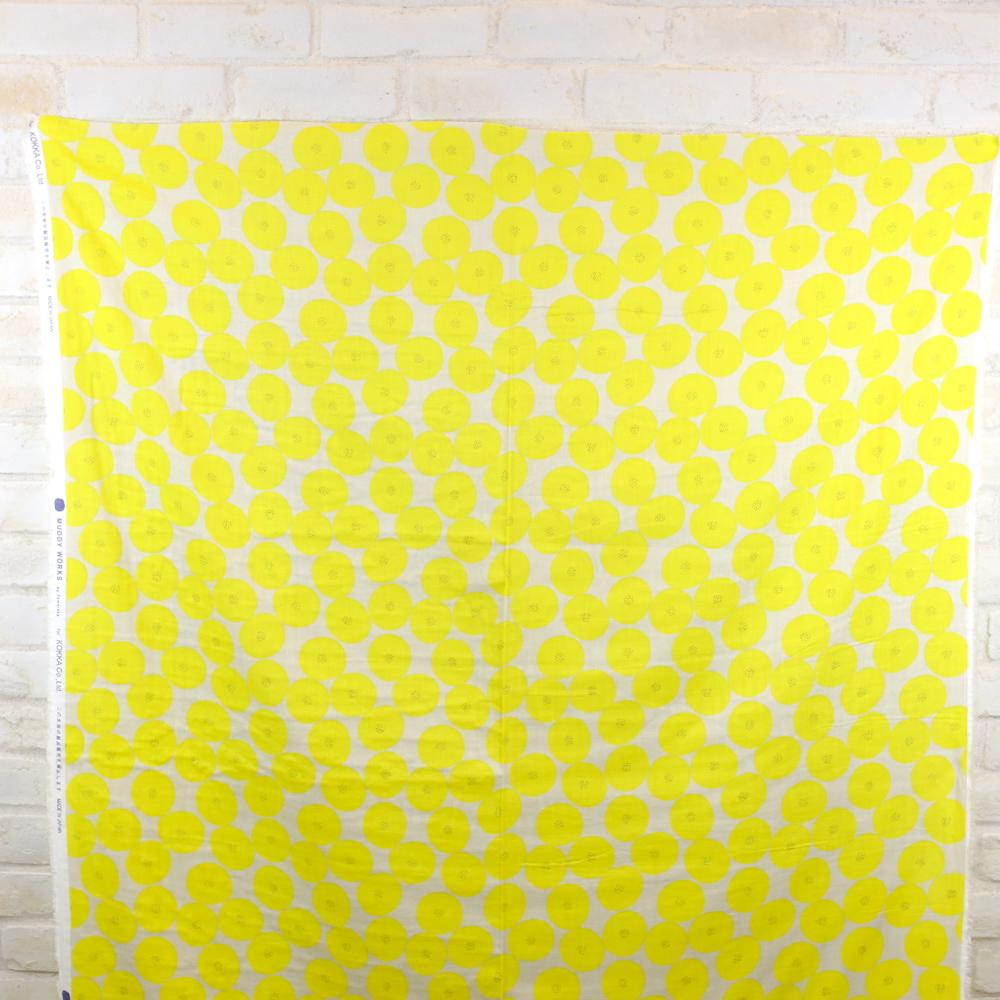 Kokka Muddy Works by Tomotake Mini Anpan - Double Gauze - Yellow - 50cm - Nekoneko Fabric