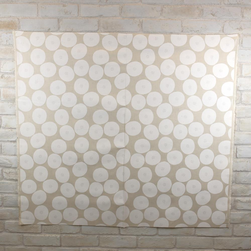 Kokka Muddy Works by Tomotake Anpan - Mortley Cross Soft Canvas - White - 50cm - Nekoneko Fabric
