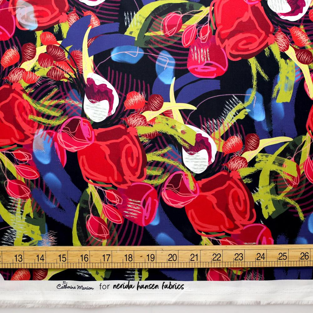 Nerida Hansen Marion Cotton Sateen - Red Roses - 50cm