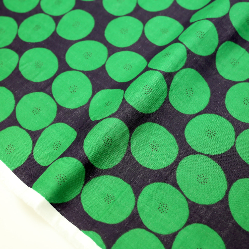 Kokka Muddy Works by Tomotake Mini Anpan - Double Gauze - Green - 50cm - Nekoneko Fabric