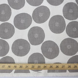 Kokka Muddy Works by Tomotake Anpan - Mortley Cross Soft Canvas - Grey - Fat Quarter - Nekoneko Fabric