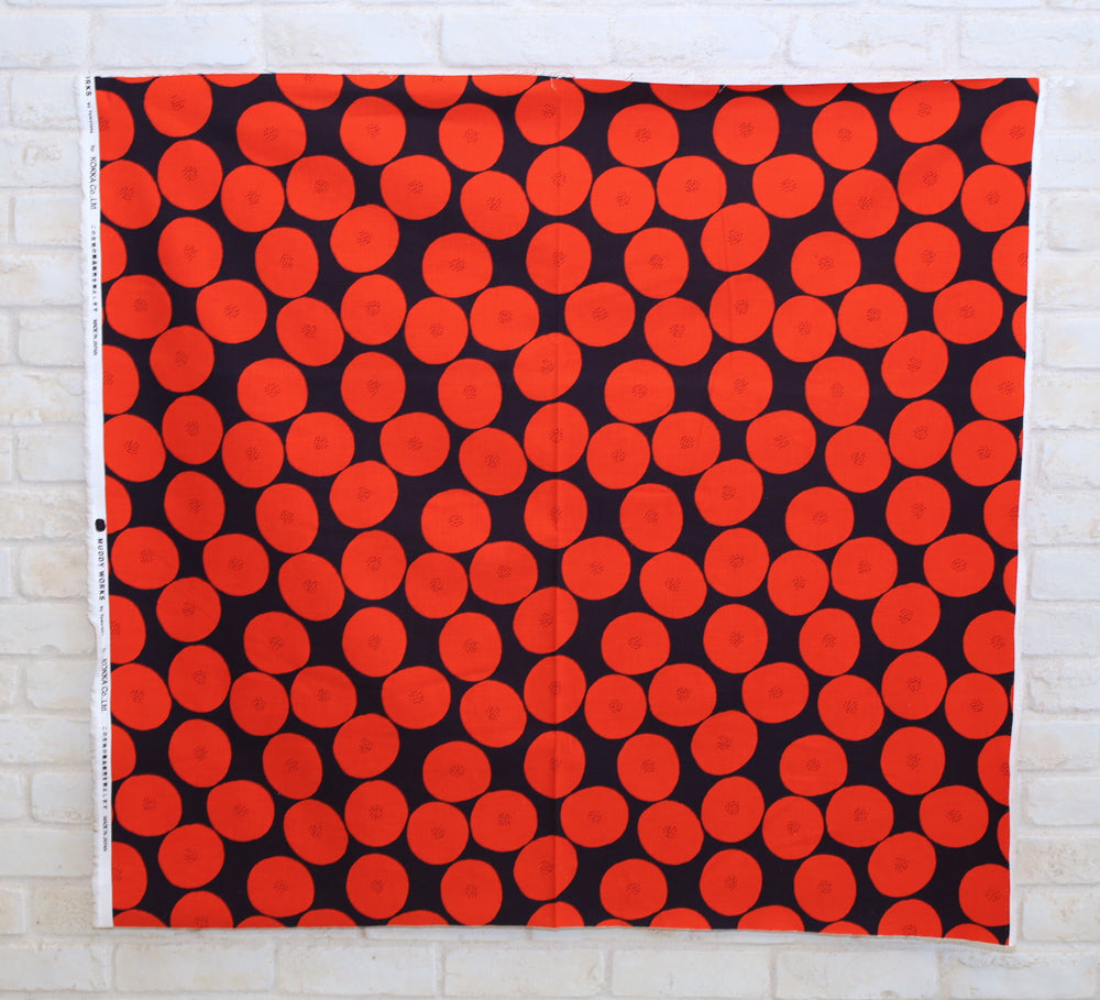 Kokka Muddy Works by Tomotake Anpan - Mortley Cross Soft Canvas - Red - 50cm - Nekoneko Fabric