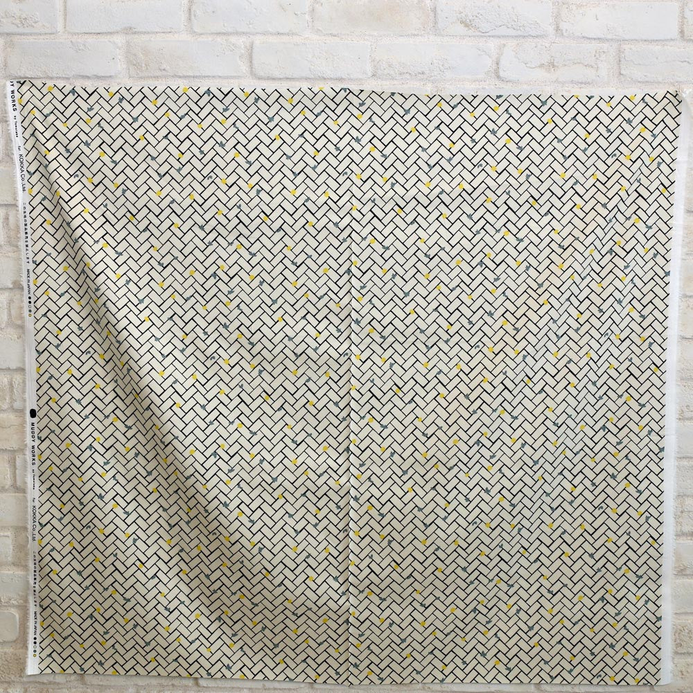 Kokka Muddy Works by Tomotake Lattice - Cotton Sateen - Beige - 50cm - Nekoneko Fabric