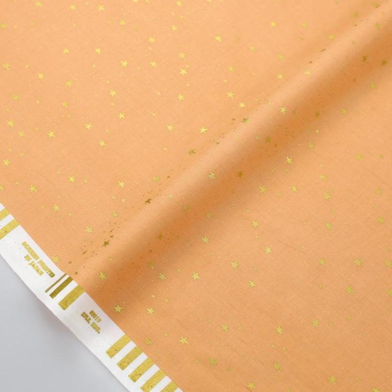 Cotton + Steel Rifle Paper Co Primavera Stars - Metallic Cotton - Peach - Half Yard - Nekoneko Fabric