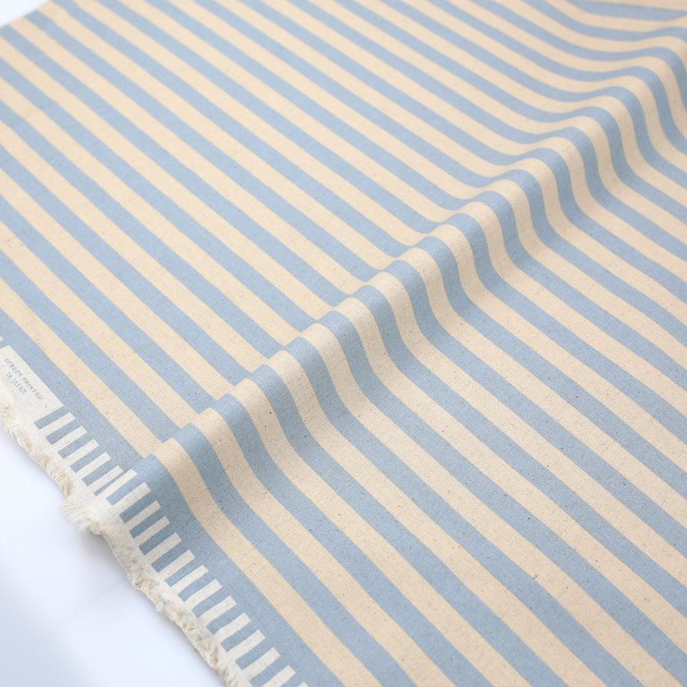 Cotton + Steel Rifle Paper Co Primavera Cabana Stripe - Canvas - Periwinkle - Half Yard - Nekoneko Fabric