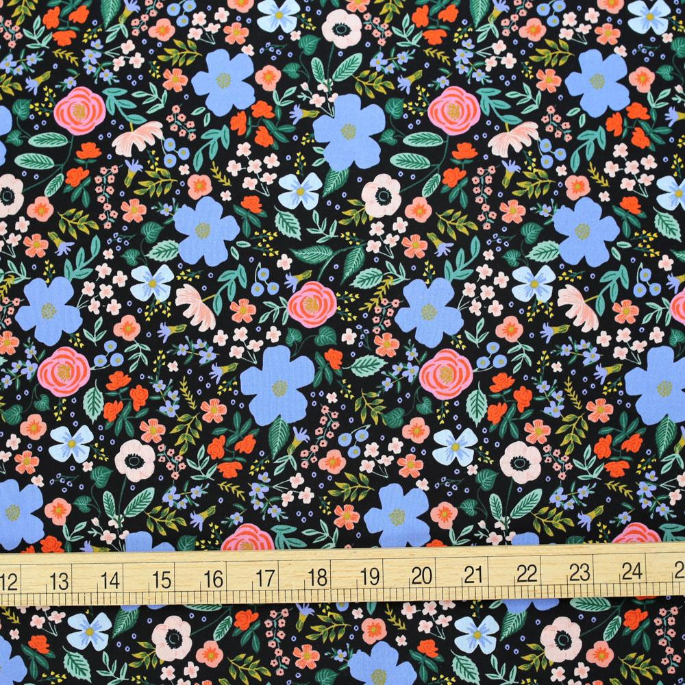 Cotton + Steel Rifle Paper Co Primavera Wild Rose - Rayon - Black - Half Yard - Nekoneko Fabric