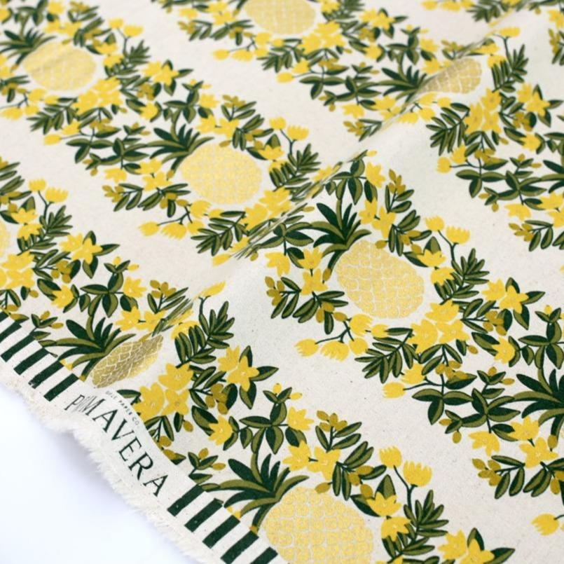 Cotton + Steel Rifle Paper Co Primavera Pineapple Stripe - Metallic Canvas - Cream - Half Yard - Nekoneko Fabric