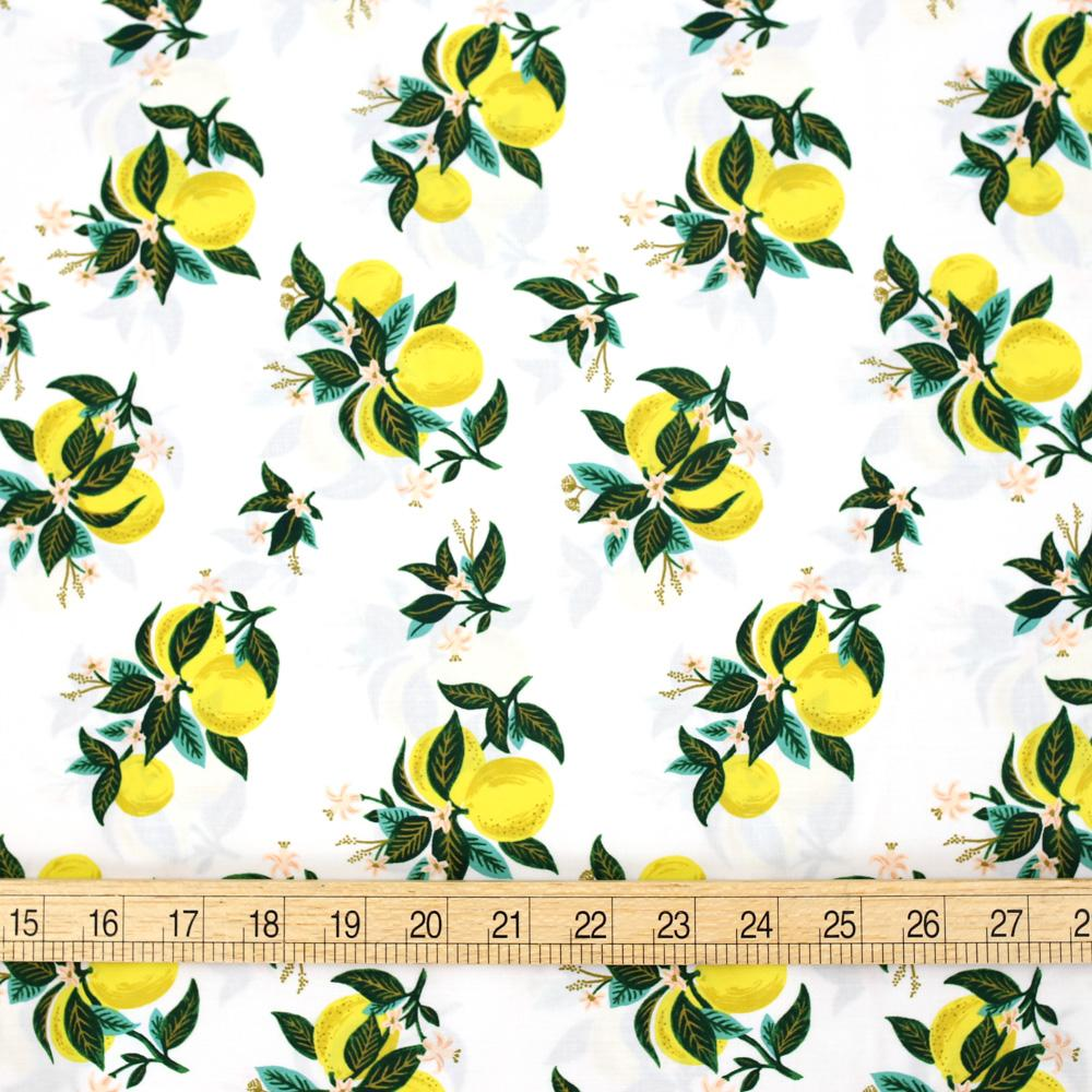 Cotton + Steel Rifle Paper Co Primavera Citrus Blossom - Rayon - Lemon - Half Yard - Nekoneko Fabric