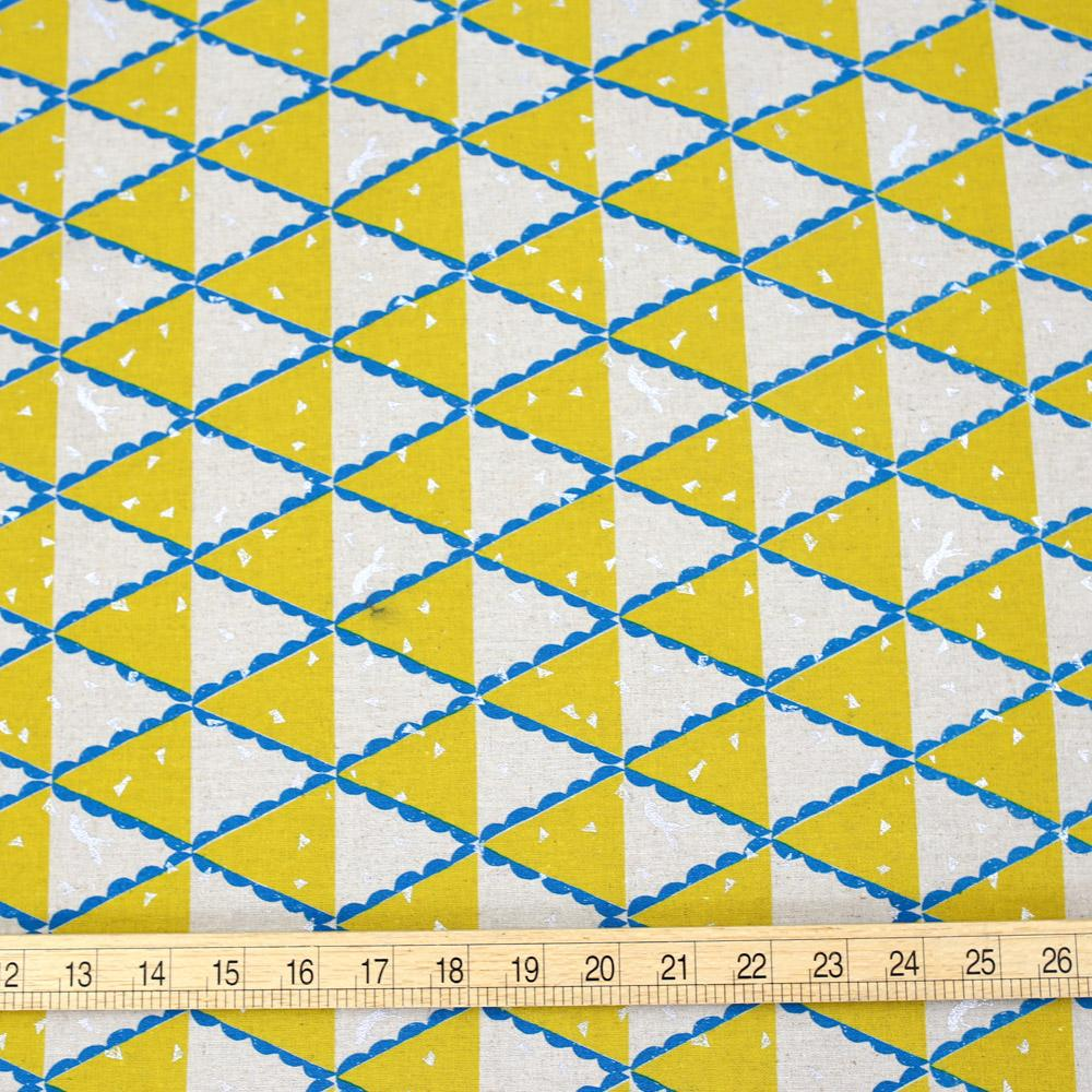 Kokka Echino Tent Canvas - Yellow - 50cm - Nekoneko Fabric