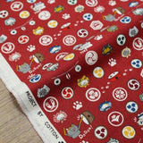 Kobayashi Cats Neko Mon Cotton Canvas - Red - Fat Quarter