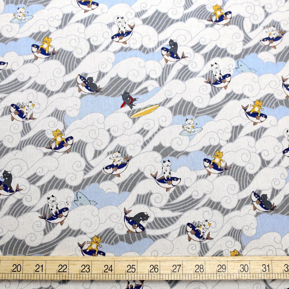 Kobayashi Cats Surfing Waves Cotton Canvas - Light Blue - 50cm