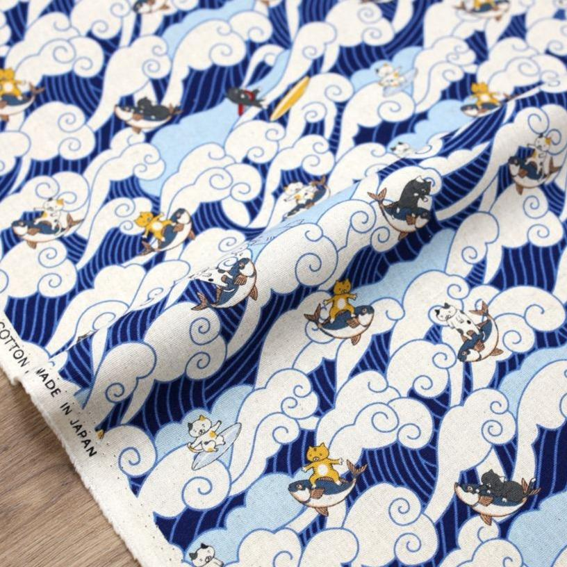 Kobayashi Cats Surfing Waves Cotton Canvas - Navy - 50cm