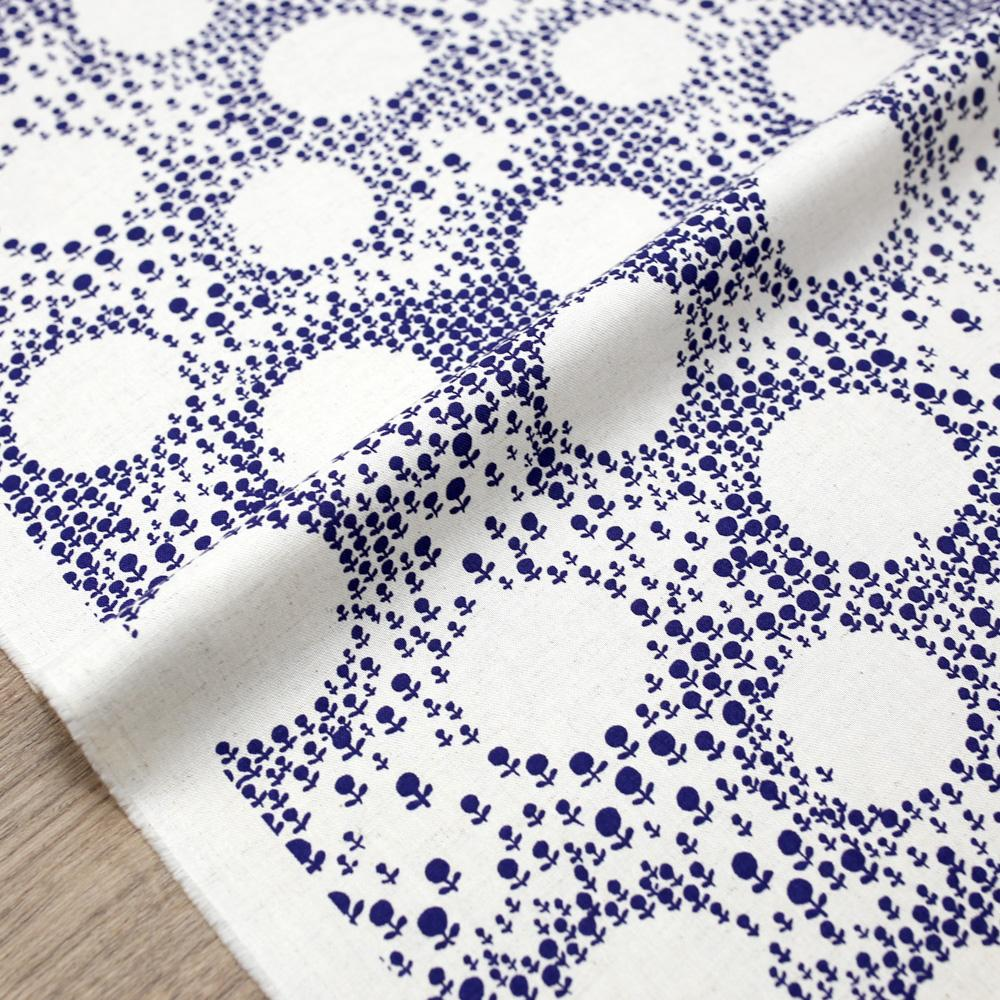 Kobayashi Floral Circle Cotton Canvas - Blue - 50cm