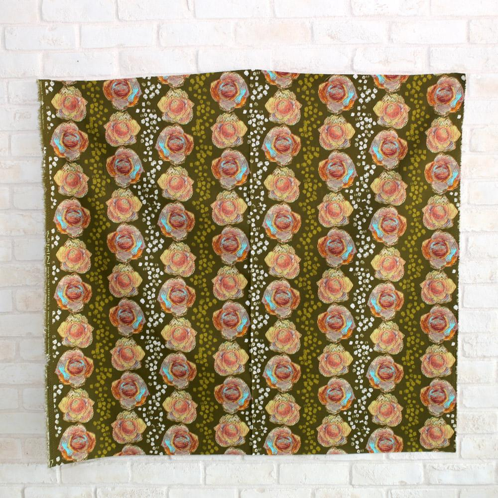 Kokka Keshiki Flower Cabbage Farm Cotton Linen Canvas - Green - 50cm