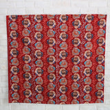 Kokka Keshiki Flower Cabbage Farm Cotton Linen Canvas - Red - 50cm