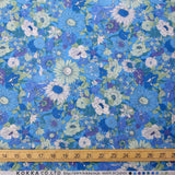 Kokka Floral 5 Large Daisies - Cotton Lawn - Light Blue E - Fat Quarter