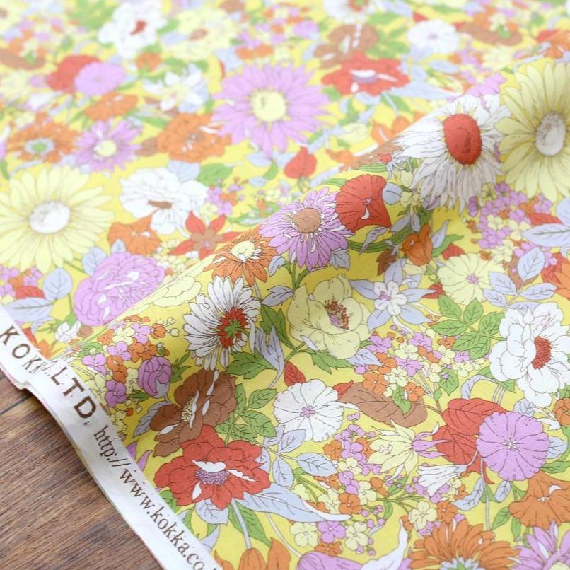 Kokka Floral 5 Large Daisies - Cotton Lawn - Mustard D - 50cm