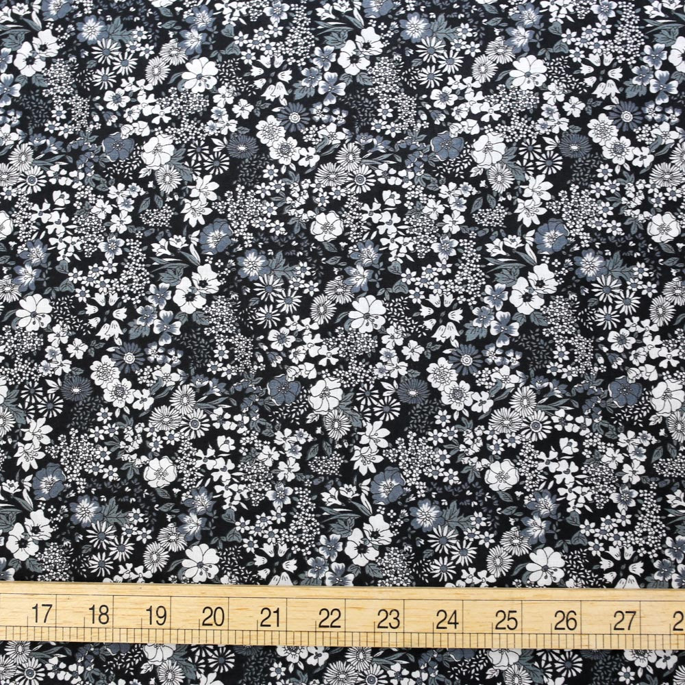 Kokka Floral 1 - Cotton Lawn - Black F - 50cm
